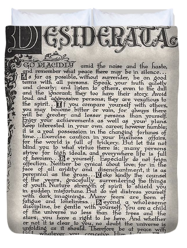 Desiderata Duvet Cover featuring the drawing Antique Florentine Desiderata Poem By Max Ehrmann On Parchment by Desiderata Gallery