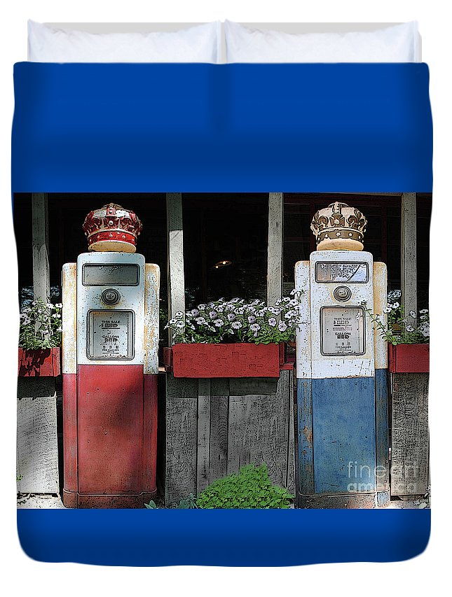 Antigue Duvet Cover featuring the photograph Antique Gas Pumps by Jost Houk