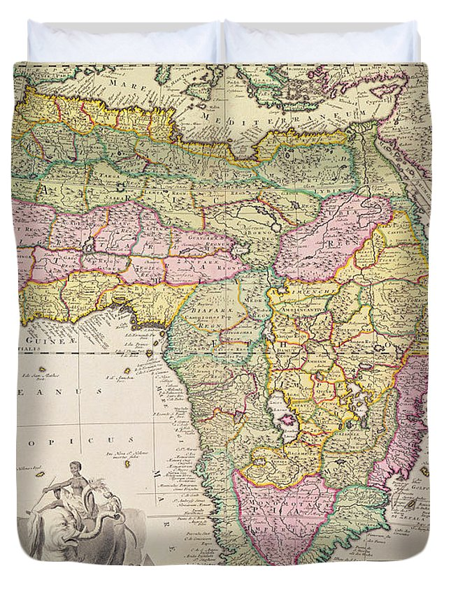 antique map of africa duvet cover for sale by pieter schenk