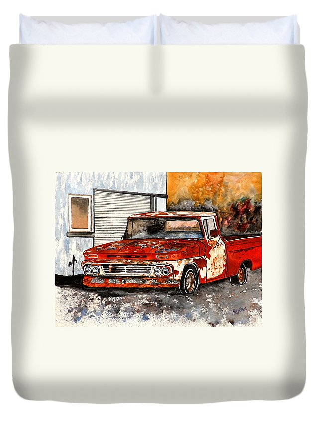 Transportation Duvet Cover featuring the painting Antique Old Truck Painting by Derek Mccrea