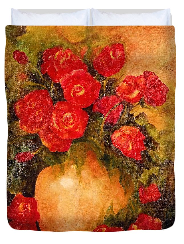 Pretty Duvet Cover featuring the painting Antique Roses by Jordana Sands