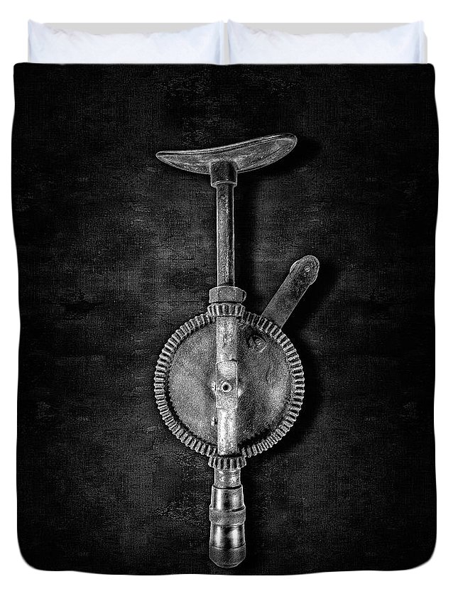 Antique Duvet Cover featuring the photograph Antique Shoulder Drill Bk Bw by YoPedro