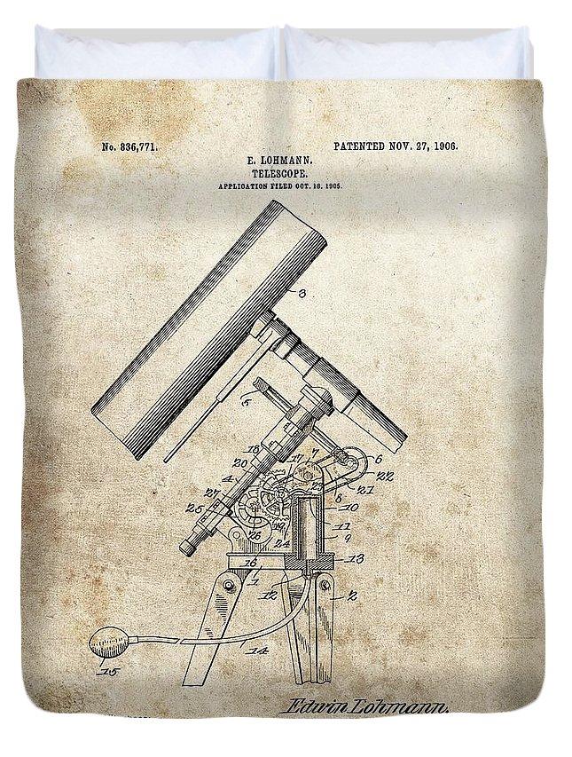 Antique Telescope Patent Duvet Cover featuring the drawing Antique Telescope Patent by Dan Sproul