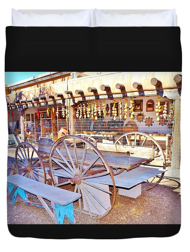 Santa Fe Duvet Cover featuring the photograph Old Santa Fe Antique Wagon And Culture by Cherie Cokeley