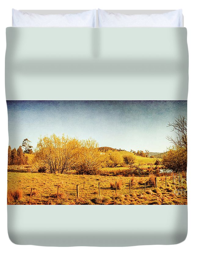 Panoramic Duvet Cover featuring the photograph Antique Weathered Countryside by Jorgo Photography - Wall Art Gallery