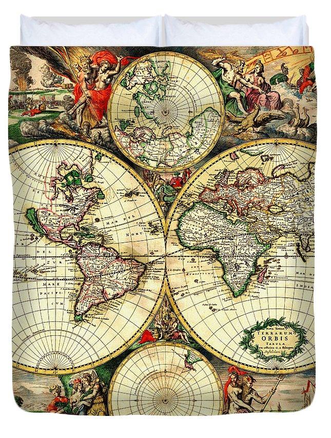 Antique World Map 1689 Vintage Travel Artwork Duvet Cover For Sale