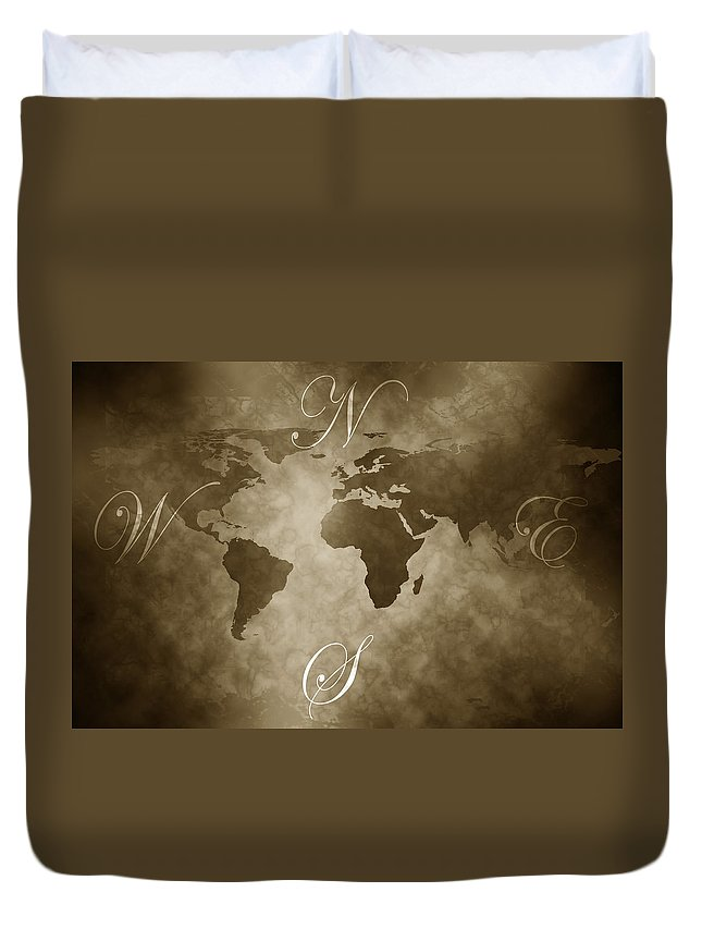 Compass Duvet Cover featuring the digital art Antique World Map by Phill Petrovic