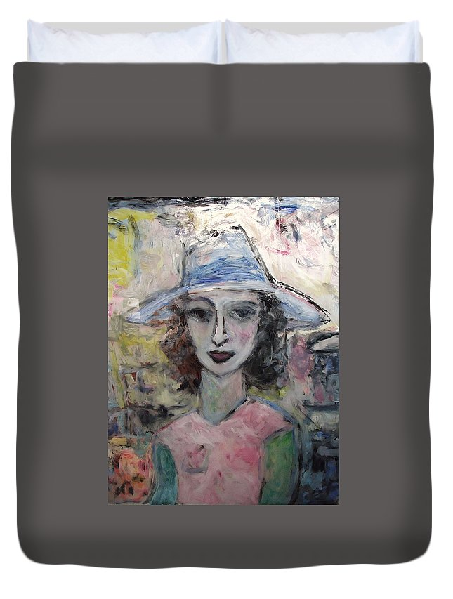 Pastel Duvet Cover featuring the painting Antoinelle by Mykul Anjelo