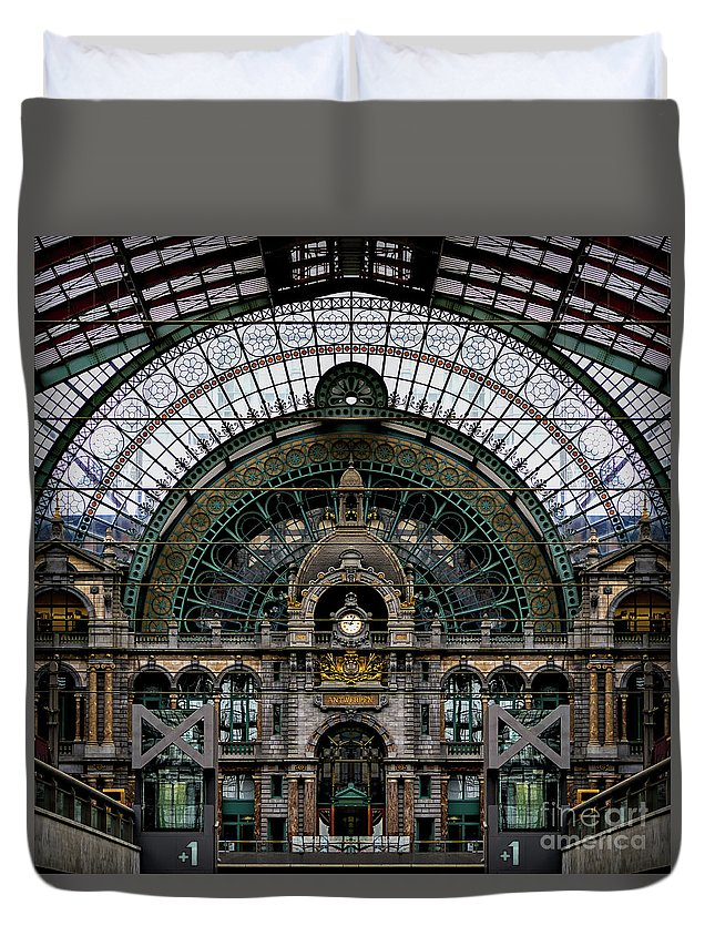 Antwerp Train Station Duvet Cover featuring the photograph Antwerp Train Terminal by Doug Sturgess