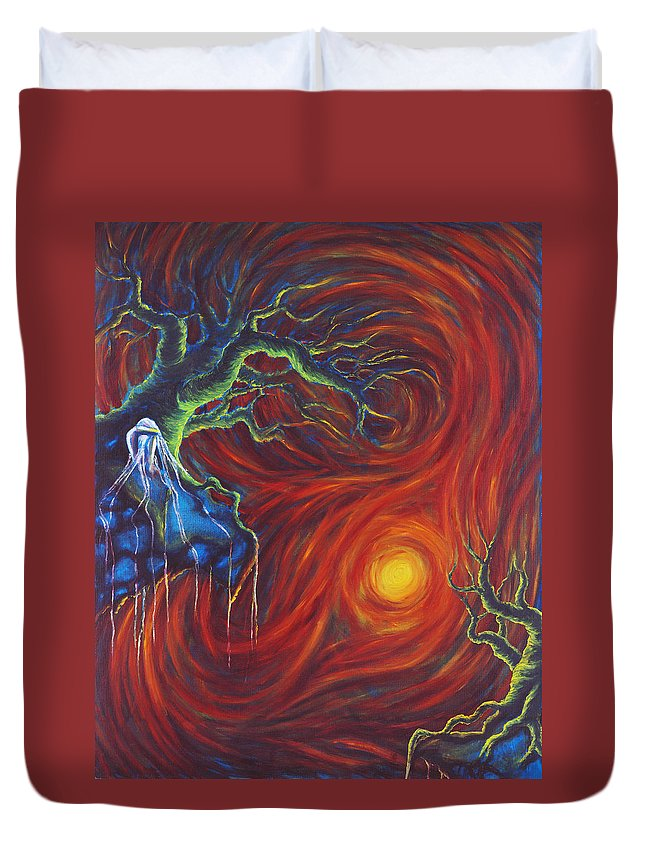 Tree Paintings Duvet Cover featuring the painting Anxiety by Jennifer McDuffie