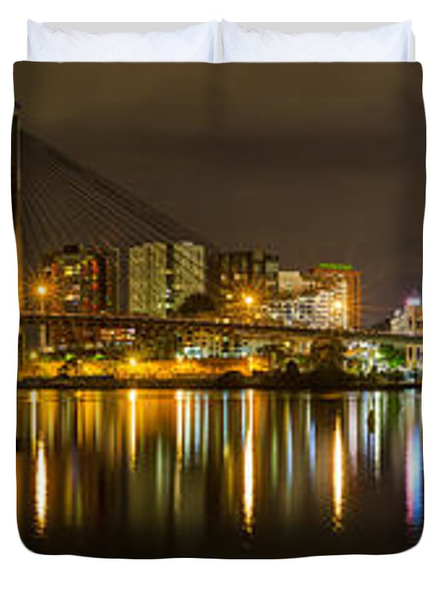 Cityscape Duvet Cover featuring the photograph Anzac Bridge By Night by Sandy Eveleigh
