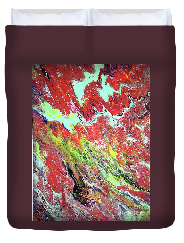 Abstract Duvet Cover featuring the painting Ap-red And Aqua by Mary Shawn Newins