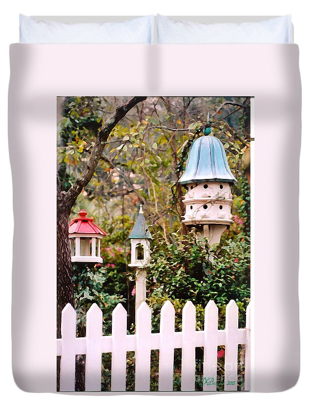 Birdhouses Duvet Cover featuring the photograph Apartment Living by Donna Bentley