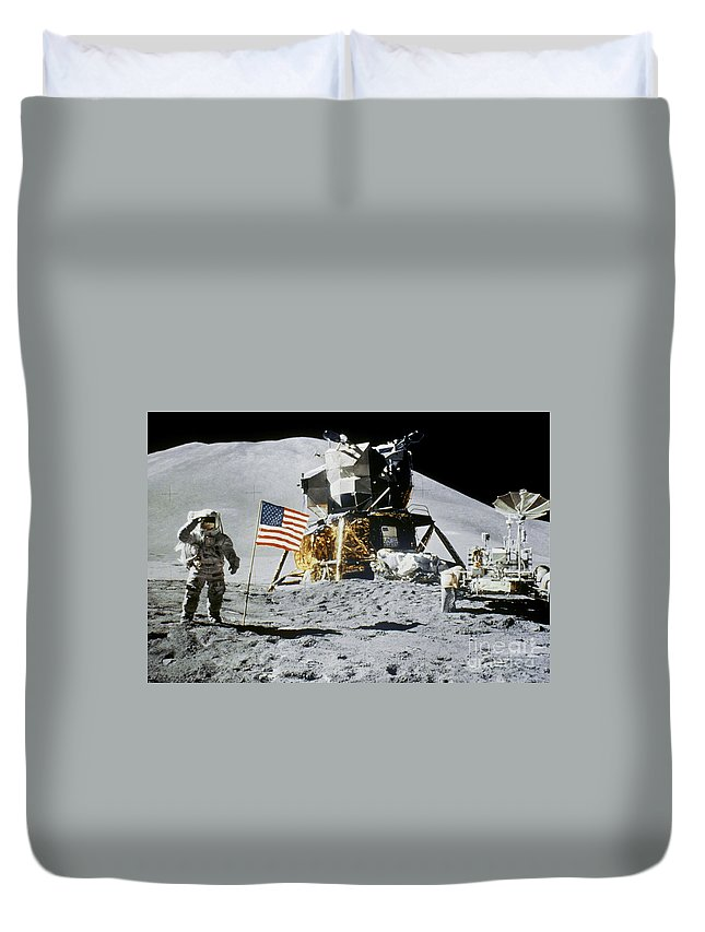 1971 Duvet Cover featuring the photograph Apollo 15: Jim Irwin, 1971 by Granger