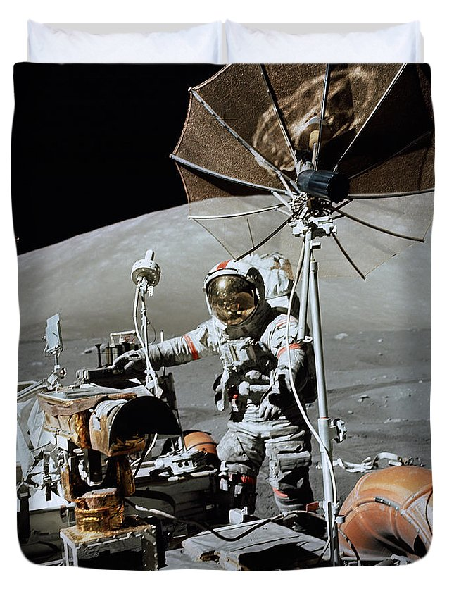 1972 Duvet Cover featuring the photograph Apollo 17 Astronaut Approaches by Stocktrek Images