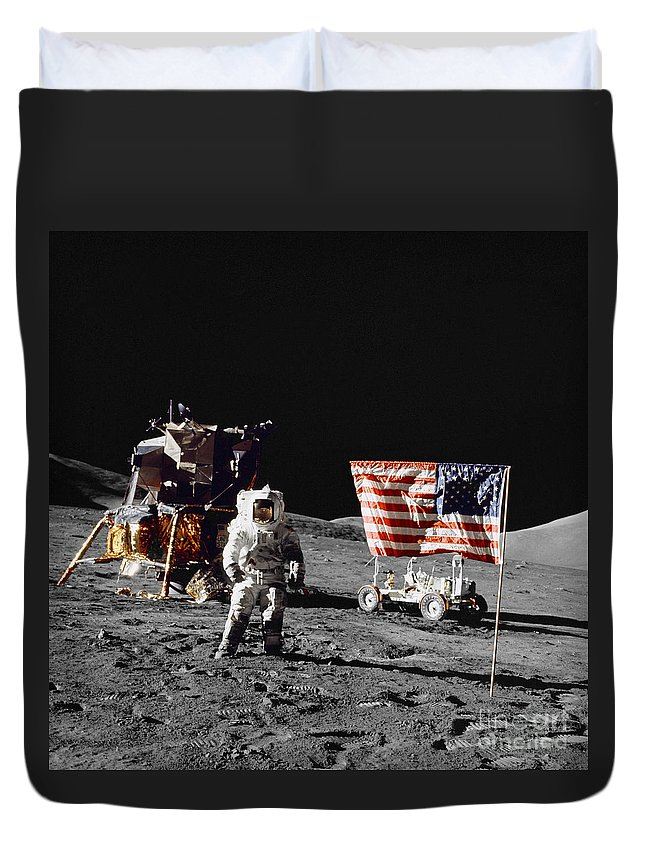 1972 Duvet Cover featuring the photograph Apollo 17 Astronaut Stands by Stocktrek Images