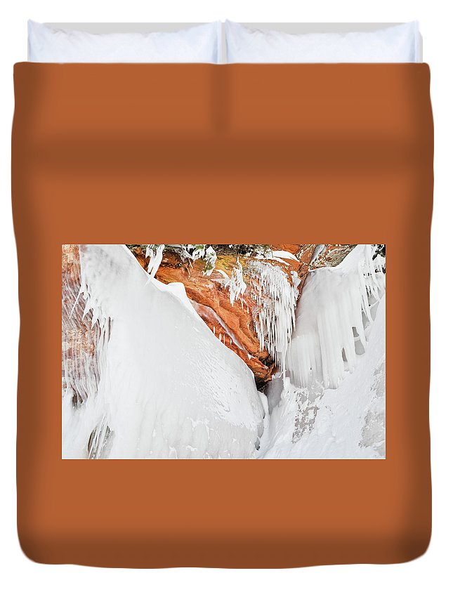 Apostle Islands National Lakeshore Duvet Cover featuring the photograph Apostle Islands Frozen Canyon by Kyle Hanson