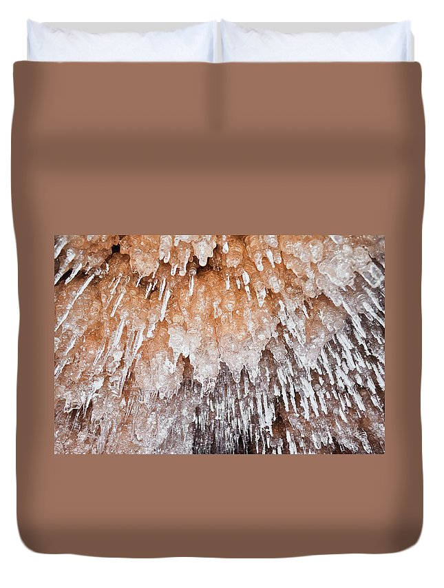 Apostle Islands National Lakeshore Duvet Cover featuring the photograph Apostle Islands Icicle Cave by Kyle Hanson