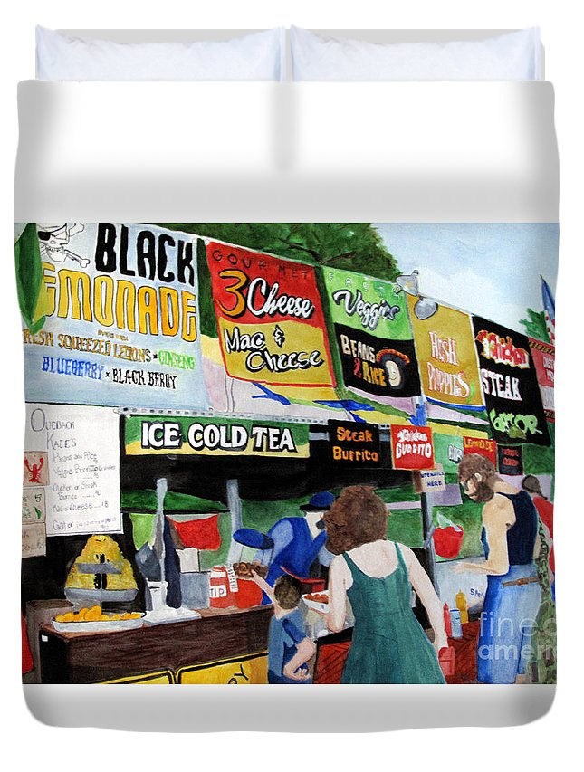 Appalachian String Band Festival Duvet Cover featuring the painting Appalachian Picnic by Sandy McIntire