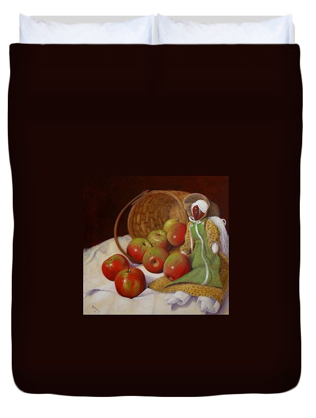 Realism Duvet Cover featuring the painting Apple Annie by Donelli DiMaria