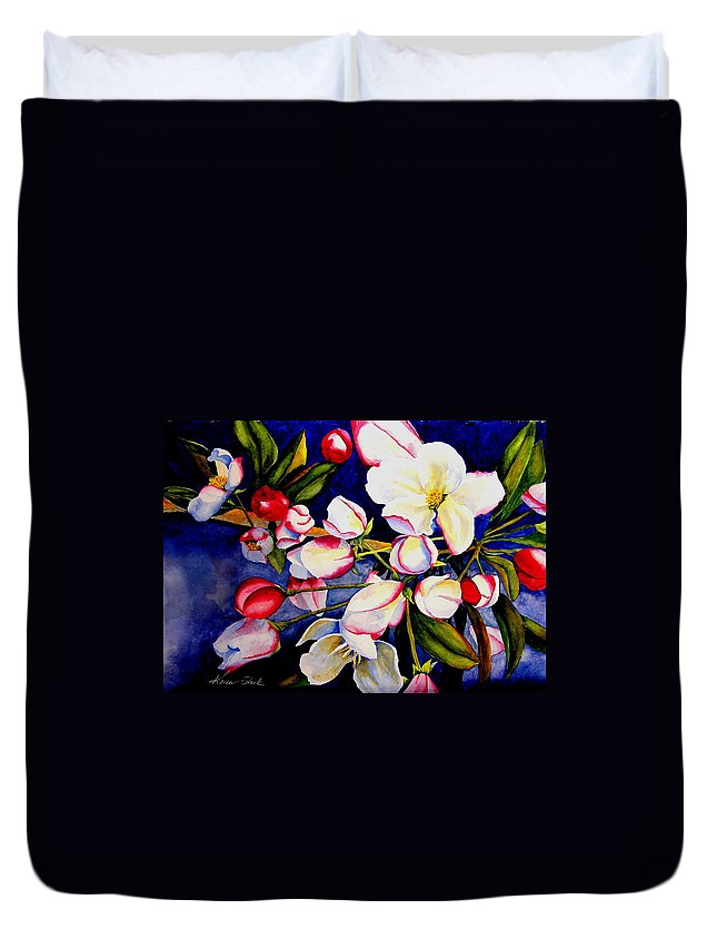 Apple Blossoms Duvet Cover featuring the painting Apple Blossom Time by Karen Stark