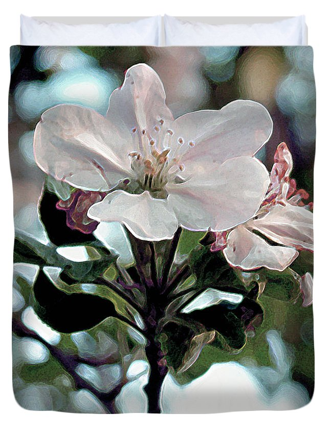Flowers Duvet Cover featuring the painting Apple Blossom Time by RC DeWinter