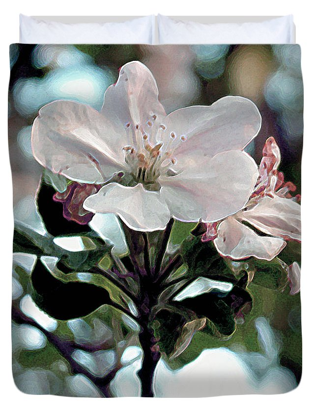 Blossom Duvet Cover featuring the painting Apple Blossom Time by RC deWinter