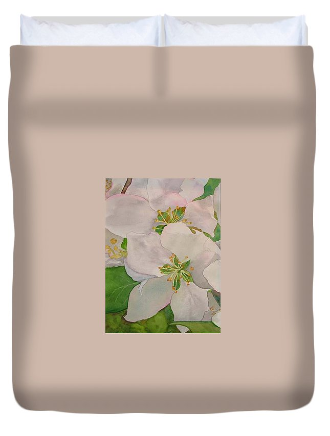 Apple Blossoms Duvet Cover featuring the painting Apple Blossoms by Sharon E Allen
