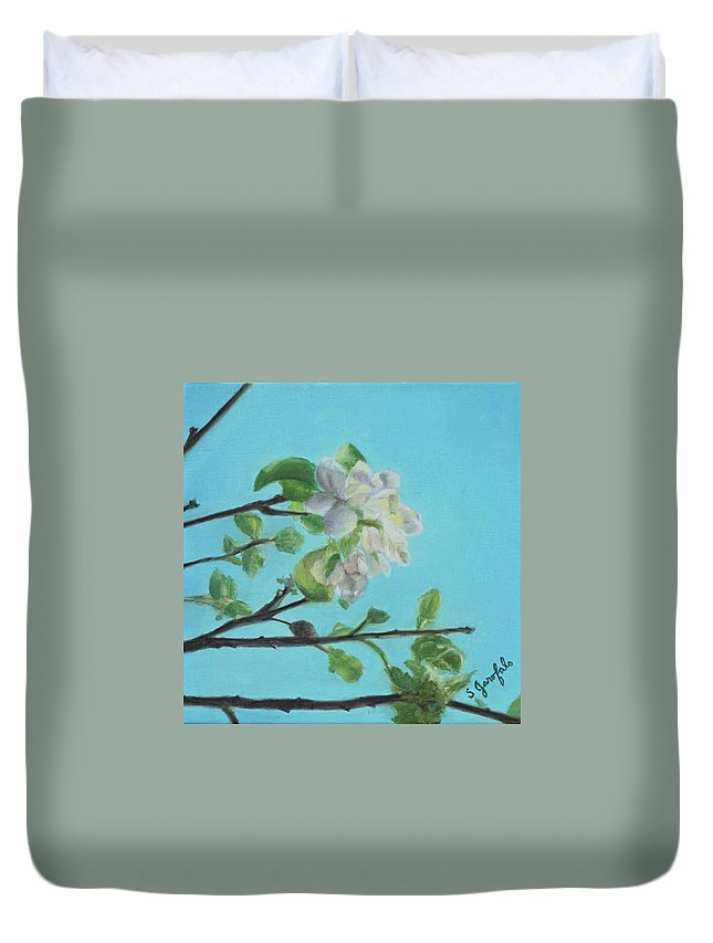 Flowers Blooming Duvet Cover featuring the painting Apple Blossoms by Skye Garofalo