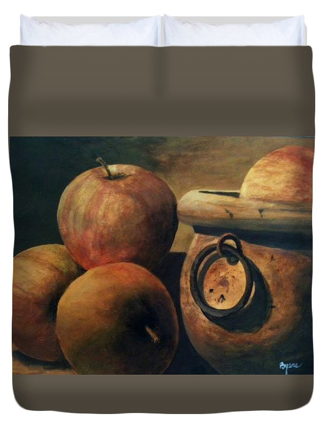 Robert Byers Duvet Cover featuring the painting Apple Cider by Robert Byers