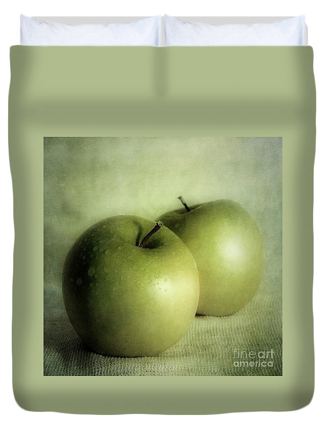 Apple Duvet Cover featuring the photograph Apple Painting by Priska Wettstein