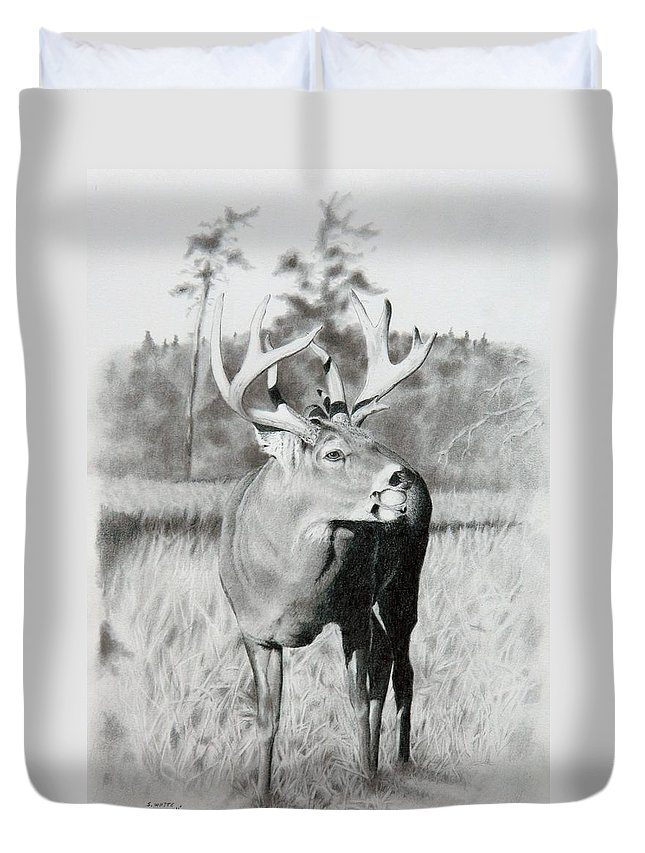 Animal Duvet Cover featuring the drawing Apple Snack by Stan White