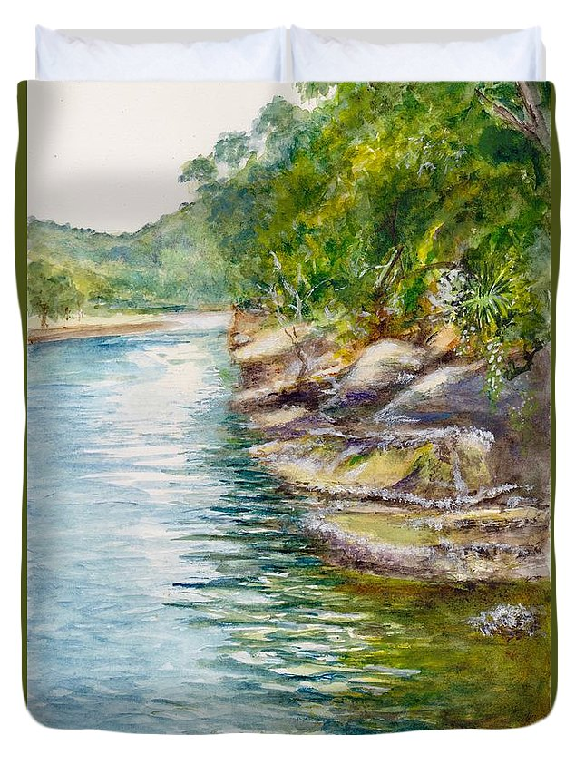 Creek Duvet Cover featuring the painting Apple Tree Creek At Bobbin Head by Dai Wynn
