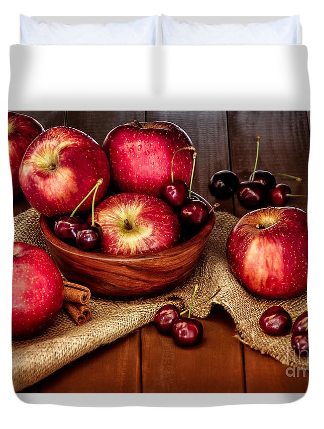 Apples Duvet Cover featuring the photograph Apples And Cherries by Lana Malamatidi