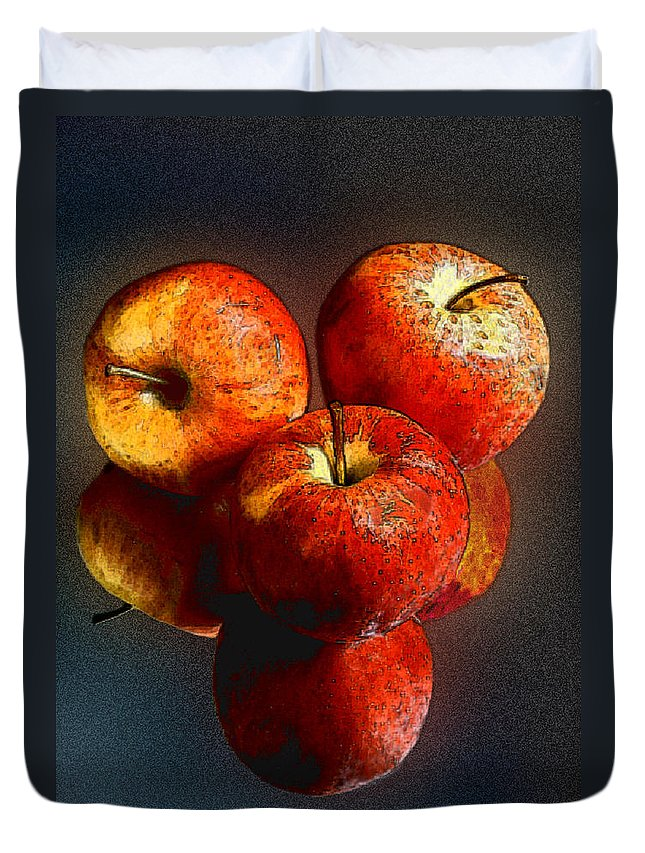 Apples Duvet Cover featuring the photograph Apples And Mirrors by Paul Wear