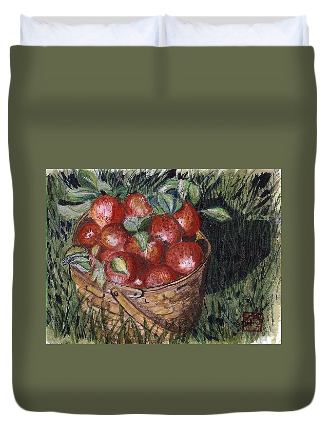 Apples Duvet Cover featuring the painting Apples by Arlene Wright-Correll