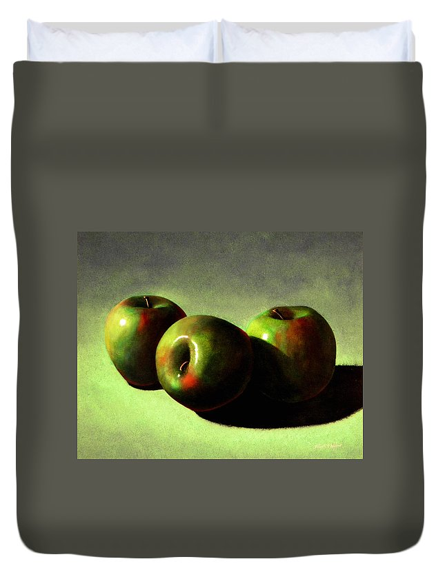 Still Life Duvet Cover featuring the painting Apples by Frank Wilson