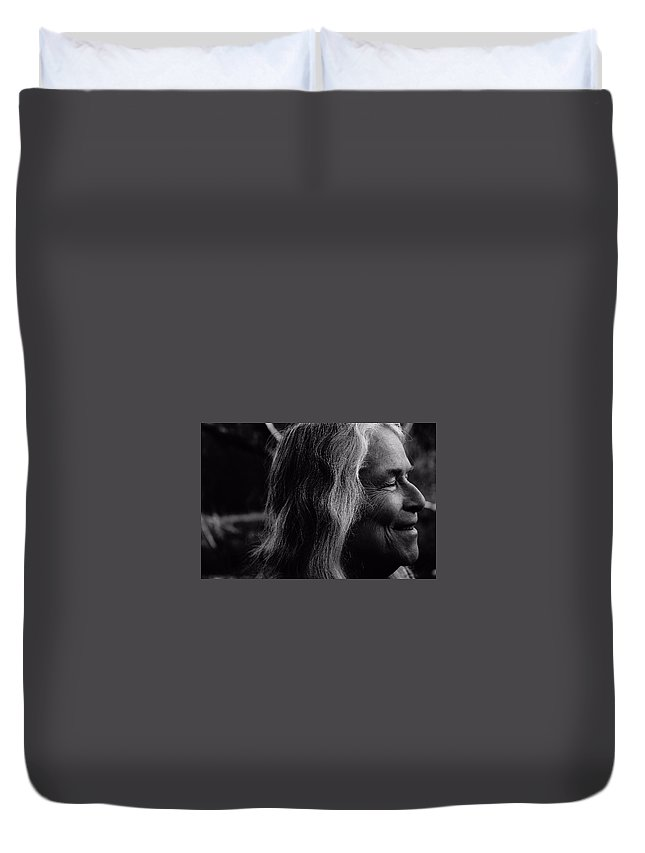 Black And White Duvet Cover featuring the photograph Appreciating The Sun by Michael Snow