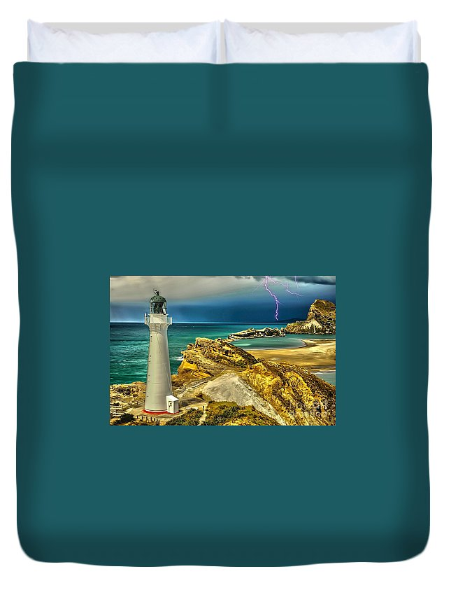 Lighthouse Duvet Cover featuring the digital art Approaching Storm 2015 by Kathryn Strick
