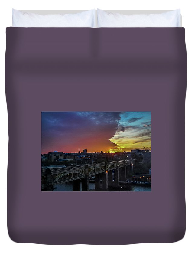 Sunset Duvet Cover featuring the photograph Approaching Storm At Sunset by Jeffrey Brannan