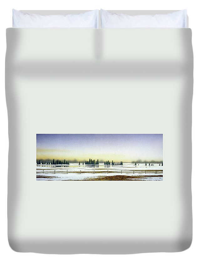 Rural Landscape Duvet Cover featuring the painting April Evening by Conrad Mieschke