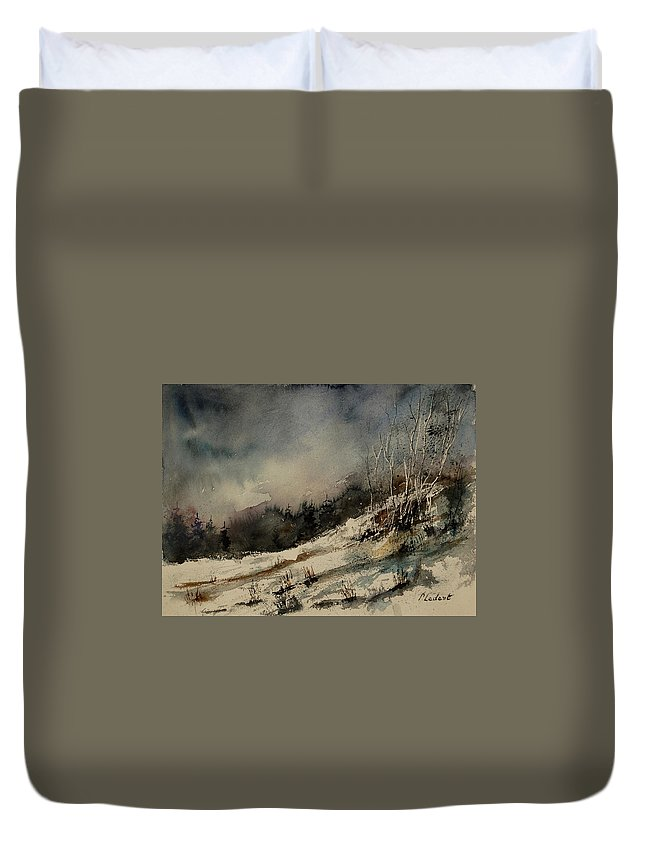 Winter Duvet Cover featuring the painting Aqua 051207 by Pol Ledent