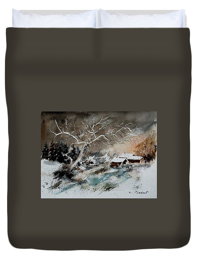 Winter Duvet Cover featuring the painting Aqua 290108 by Pol Ledent