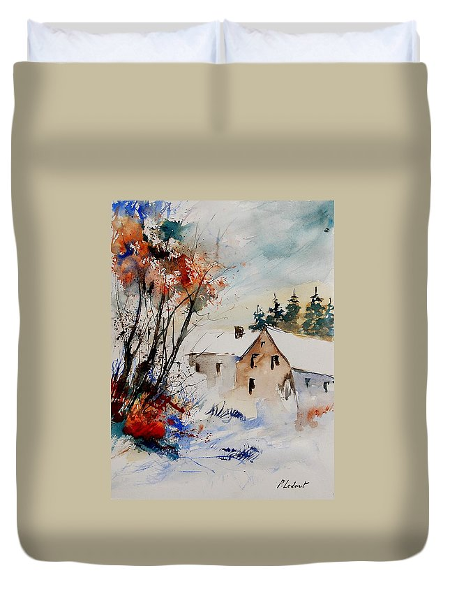 Winter Duvet Cover featuring the painting Aqua 905070 by Pol Ledent
