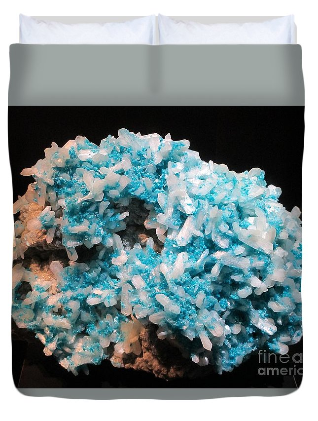 Gemstones Duvet Cover featuring the photograph Aqua And White Gemstone by Barbara Yearty