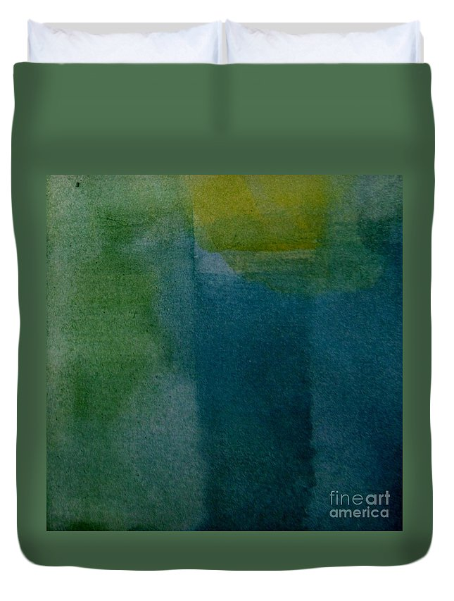 Abstract Duvet Cover featuring the painting Aqua Blue - Abstract by Vesna Antic