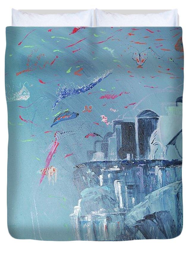 Blue Duvet Cover featuring the painting Aqua Resort by Subbora Jackson