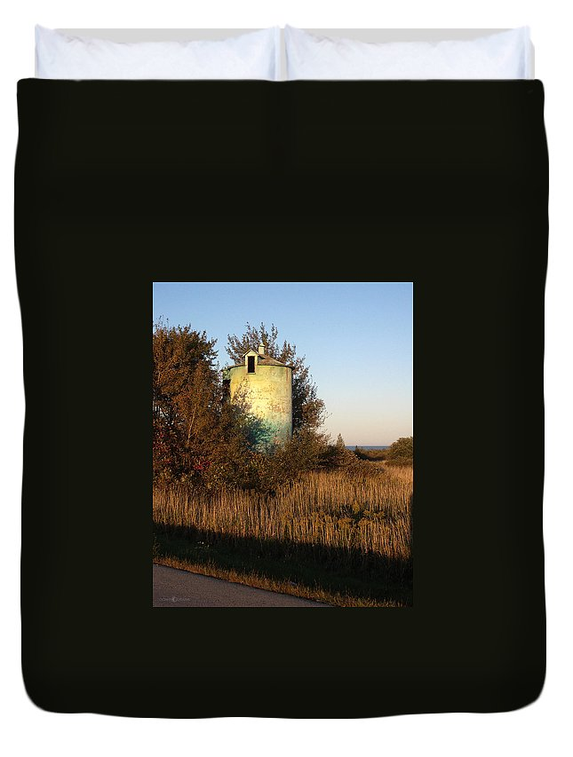 Silo Duvet Cover featuring the photograph Aqua Silo by Tim Nyberg