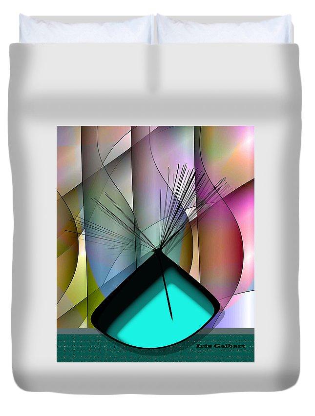 Vase Duvet Cover featuring the digital art Aqua Vase by Iris Gelbart