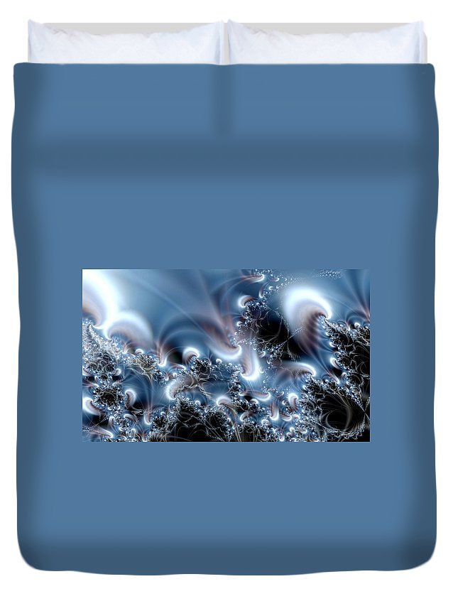 Water Bubbles Blue Nature Flow Duvet Cover featuring the digital art Aquafractal by Veronica Jackson